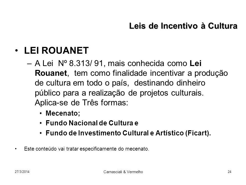 27/3/2014 Carnasciali & Vermelho 24 LEI ROUANET –A Lei Nº 8.313/ 91, mais conhecida como Lei Rouanet, tem como finalidade incentivar a produção de cultura em todo o país, destinando dinheiro público para a realização de projetos culturais.