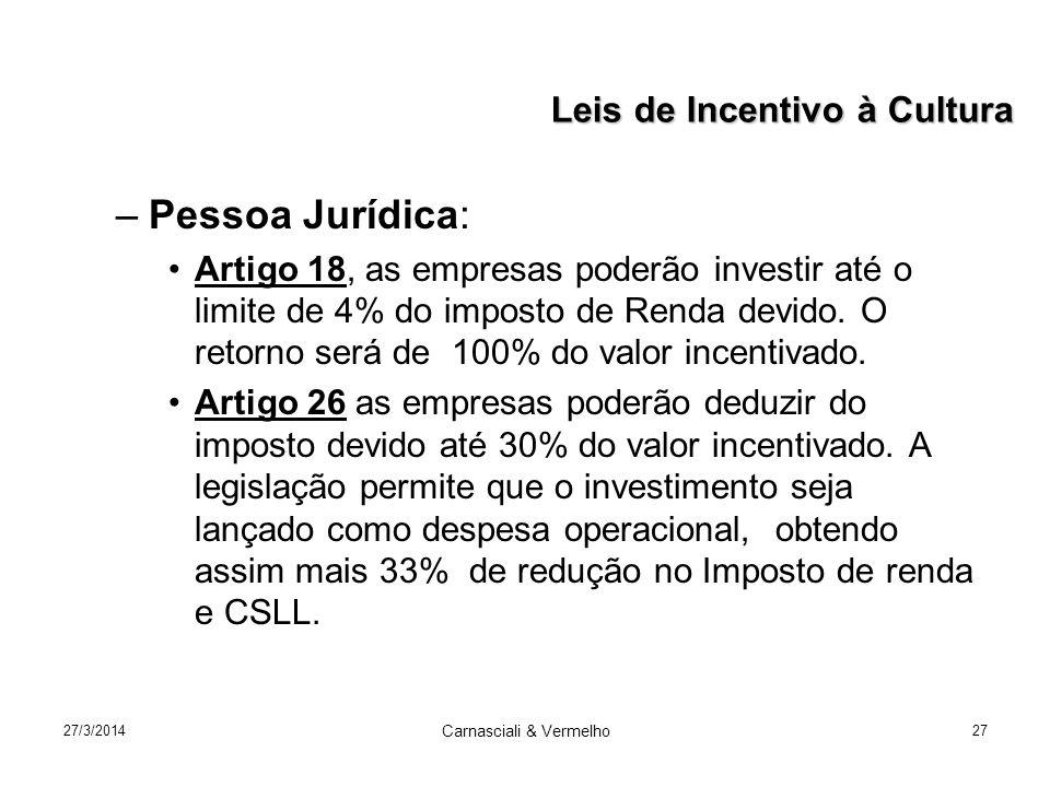27/3/2014 Carnasciali & Vermelho 27 –Pessoa Jurídica: Artigo 18, as empresas poderão investir até o limite de 4% do imposto de Renda devido.