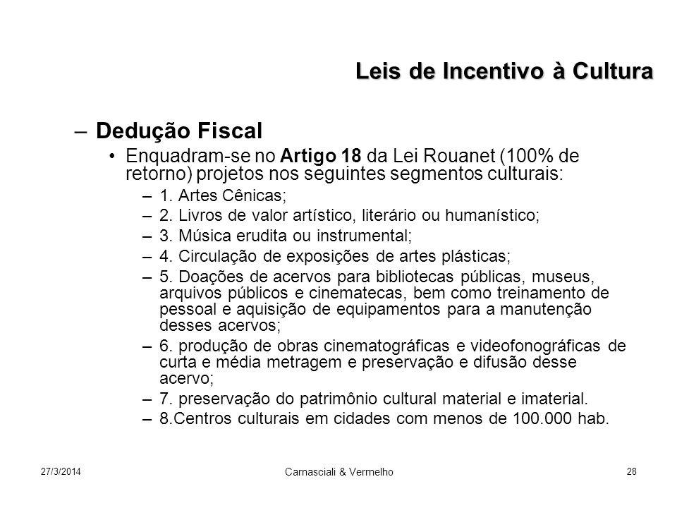 27/3/2014 Carnasciali & Vermelho 28 –Dedução Fiscal Enquadram-se no Artigo 18 da Lei Rouanet (100% de retorno) projetos nos seguintes segmentos culturais: –1.