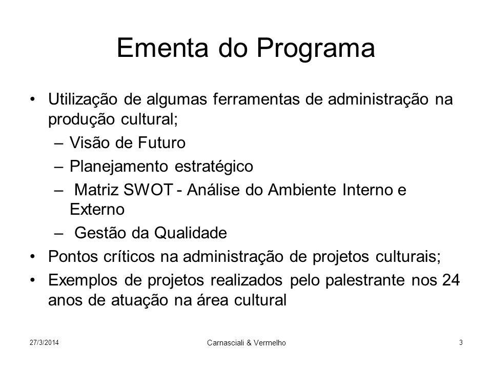 27/3/2014 Carnasciali & Vermelho 3 Ementa do Programa Utilização de algumas ferramentas de administração na produção cultural; –Visão de Futuro –Plane
