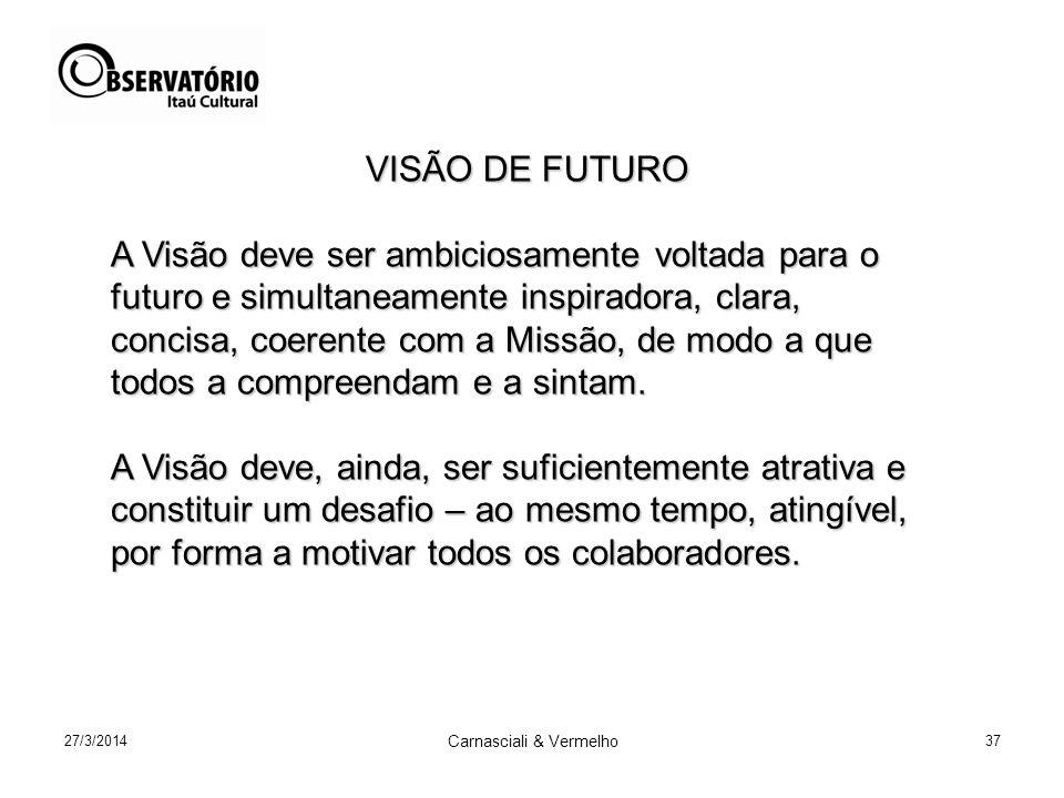 27/3/2014 Carnasciali & Vermelho 37 VISÃO DE FUTURO VISÃO DE FUTURO A Visão deve ser ambiciosamente voltada para o futuro e simultaneamente inspiradora, clara, concisa, coerente com a Missão, de modo a que todos a compreendam e a sintam.