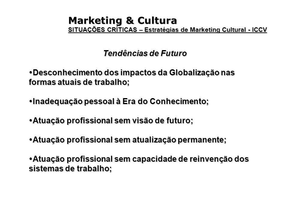 Marketing & Cultura SITUAÇÕES CRÍTICAS – Estratégias de Marketing Cultural - ICCV Tendências de Futuro Desconhecimento dos impactos da Globalização na