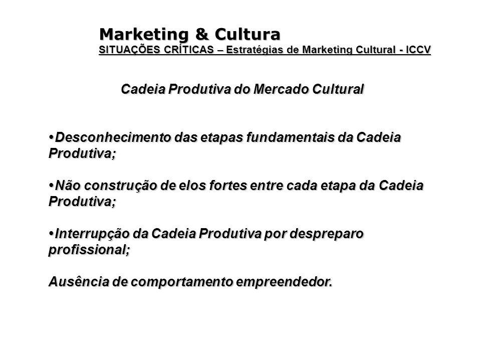Marketing & Cultura SITUAÇÕES CRÍTICAS – Estratégias de Marketing Cultural - ICCV Cadeia Produtiva do Mercado Cultural Desconhecimento das etapas fund