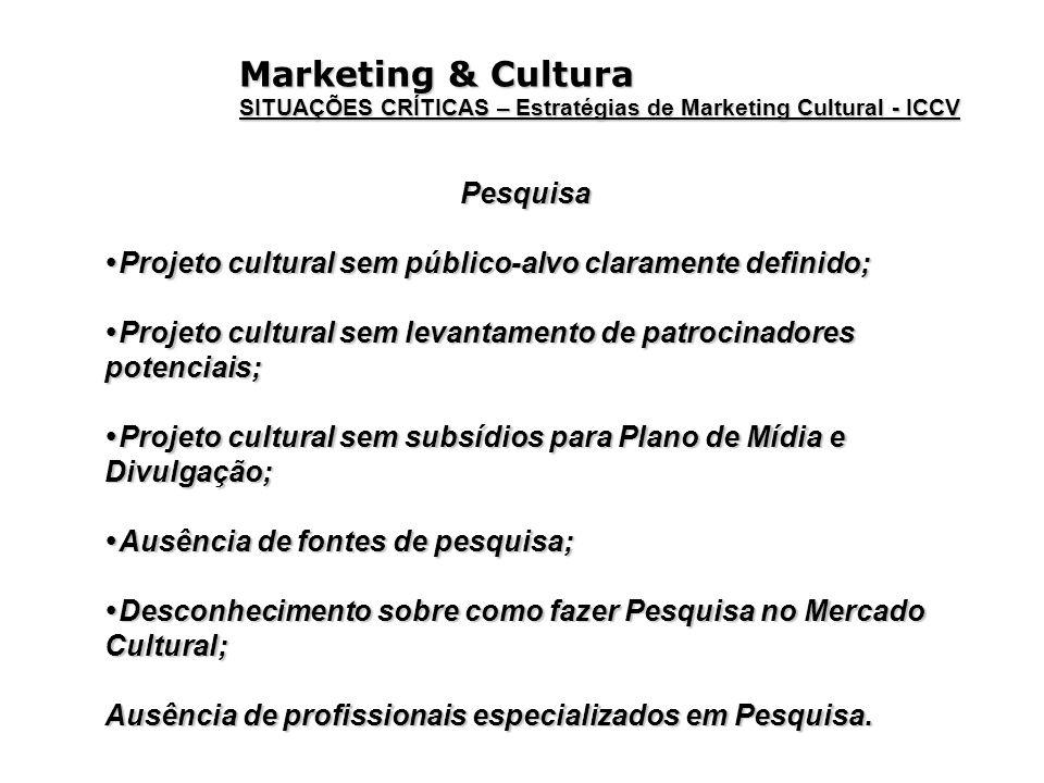 Marketing & Cultura SITUAÇÕES CRÍTICAS – Estratégias de Marketing Cultural - ICCV Pesquisa Projeto cultural sem público-alvo claramente definido; Proj