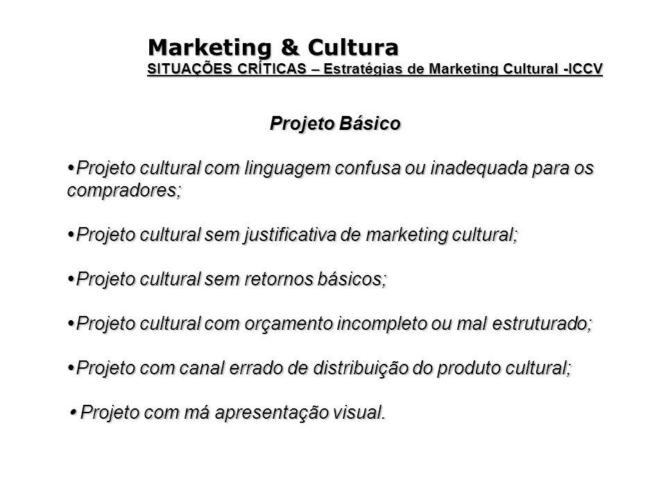 Marketing & Cultura SITUAÇÕES CRÍTICAS – Estratégias de Marketing Cultural -ICCV Projeto Básico Projeto cultural com linguagem confusa ou inadequada p