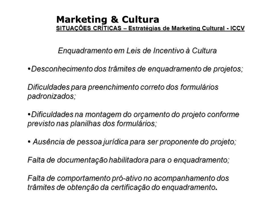 Marketing & Cultura SITUAÇÕES CRÍTICAS – Estratégias de Marketing Cultural - ICCV Enquadramento em Leis de Incentivo à Cultura Desconhecimento dos trâ