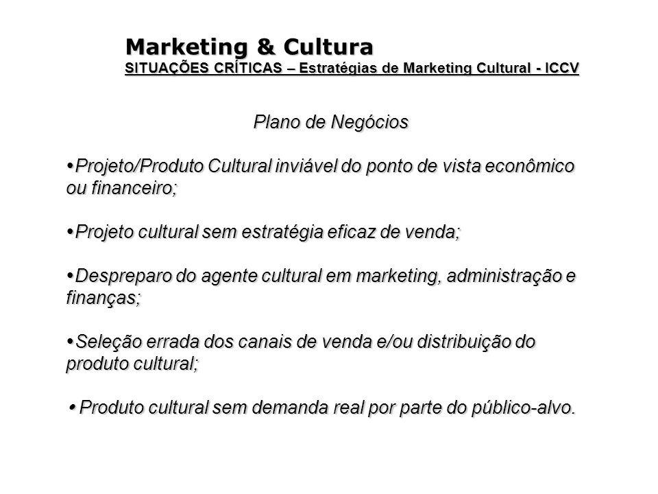Marketing & Cultura SITUAÇÕES CRÍTICAS – Estratégias de Marketing Cultural - ICCV Plano de Negócios Projeto/Produto Cultural inviável do ponto de vist