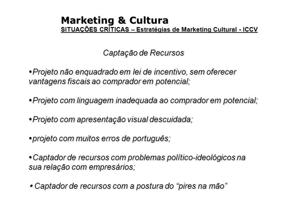 Marketing & Cultura SITUAÇÕES CRÍTICAS – Estratégias de Marketing Cultural - ICCV Captação de Recursos Projeto não enquadrado em lei de incentivo, sem