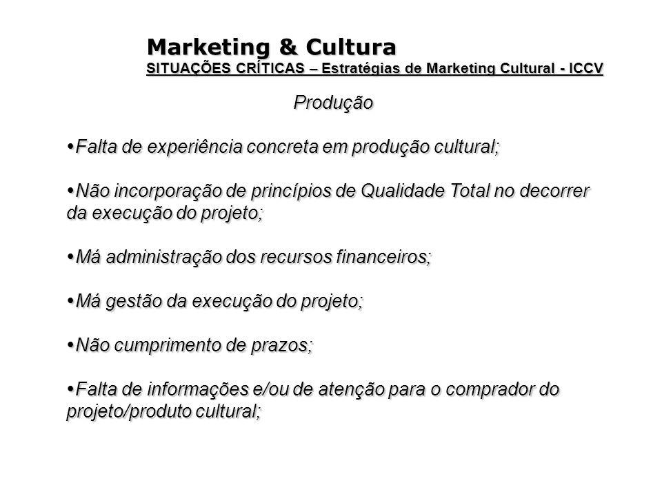 Marketing & Cultura SITUAÇÕES CRÍTICAS – Estratégias de Marketing Cultural - ICCV Produção Falta de experiência concreta em produção cultural; Falta d