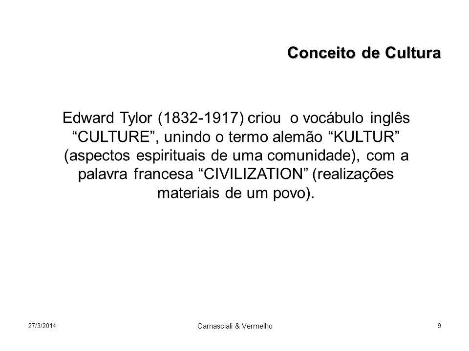 27/3/2014 Carnasciali & Vermelho 9 Edward Tylor (1832-1917) criou o vocábulo inglês CULTURE, unindo o termo alemão KULTUR (aspectos espirituais de uma comunidade), com a palavra francesa CIVILIZATION (realizações materiais de um povo).