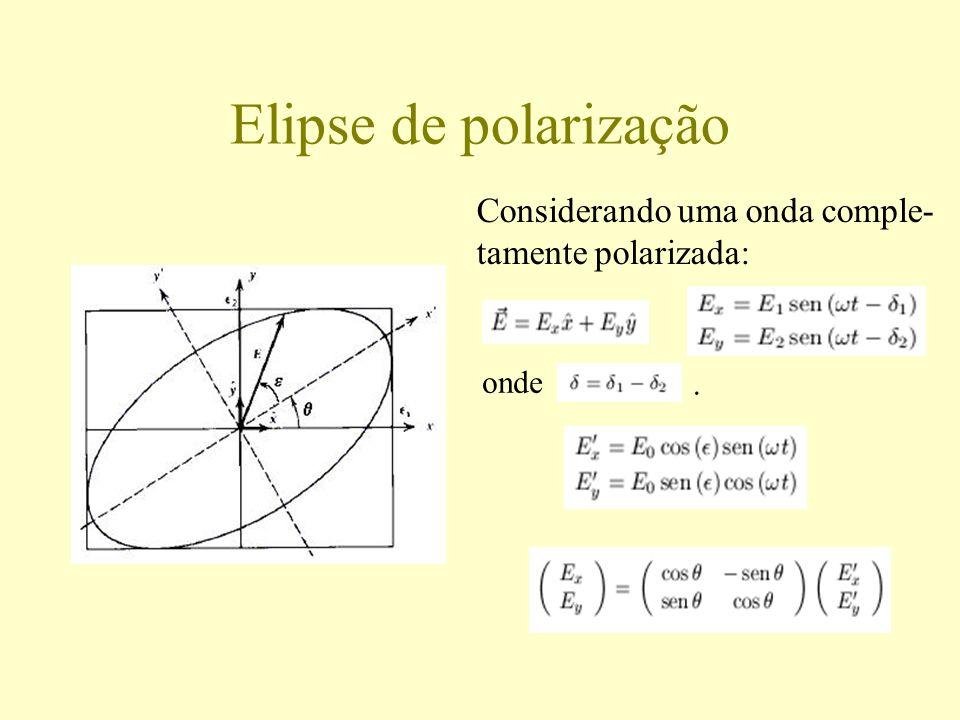 Parâmetros de Stokes Para uma onda totalmente polarizada: Correspondem ao tamanho, orientação, forma e sentido de rotação da elipse de po- larização.