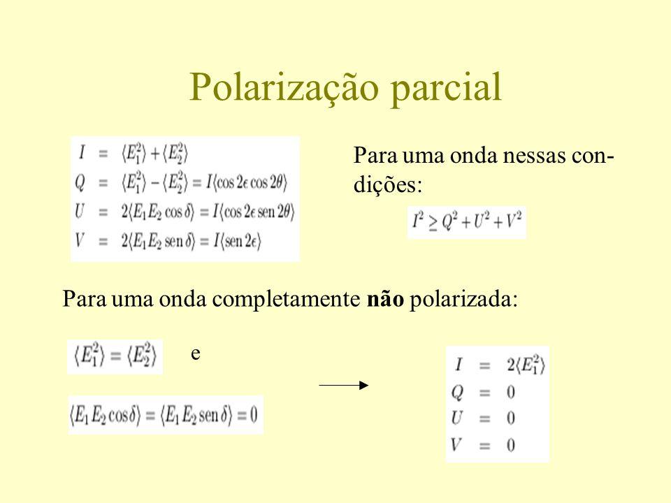 Polarização parcial Para uma onda completamente não polarizada: Para uma onda nessas con- dições: e