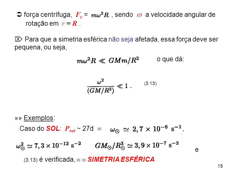 15 força centrífuga, F c =, sendo a velocidade angular de rotação em r = R. Para que a simetria esférica não seja afetada, essa força deve ser pequena