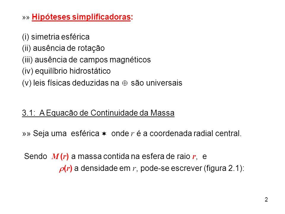 2 »» Hipóteses simplificadoras: (i) simetria esférica (ii) ausência de rotação (iii) ausência de campos magnéticos (iv) equilíbrio hidrostático (v) le