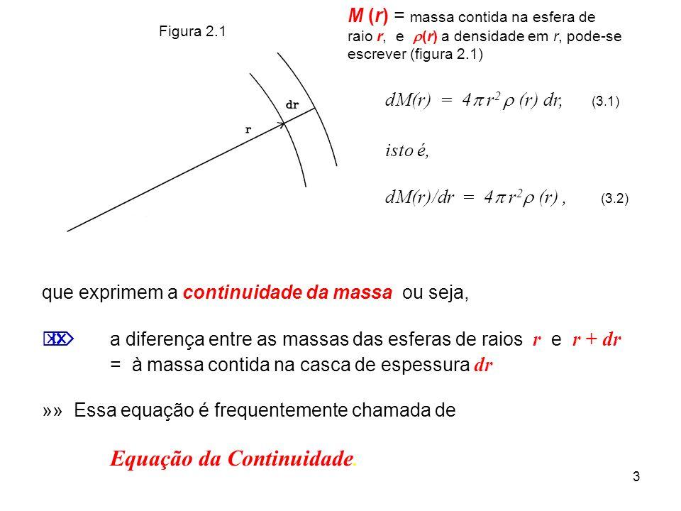 3 dM(r) = 4 r 2 (r) dr, (3.1) isto é, dM(r)/dr = 4 r 2 (r), (3.2) que exprimem a continuidade da massa, ou seja, a diferença entre as massas das esfer