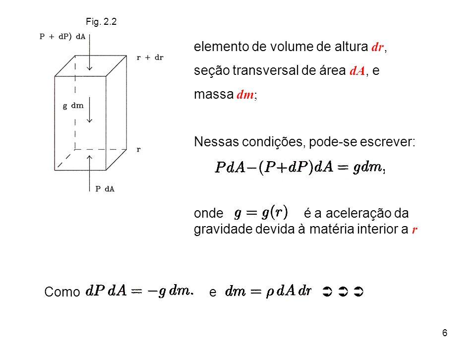 6 Fig. 2.2 elemento de volume de altura dr, seção transversal de área dA, e massa dm; Nessas condições, pode-se escrever: onde é a aceleração da gravi