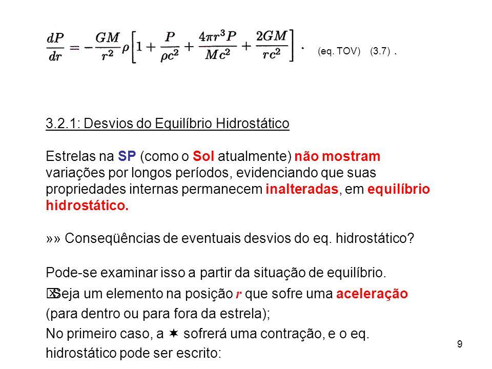 9 (eq. TOV) (3.7). 3.2.1: Desvios do Equilíbrio Hidrostático Estrelas na SP (como o Sol atualmente) não mostram variações por longos períodos, evidenc