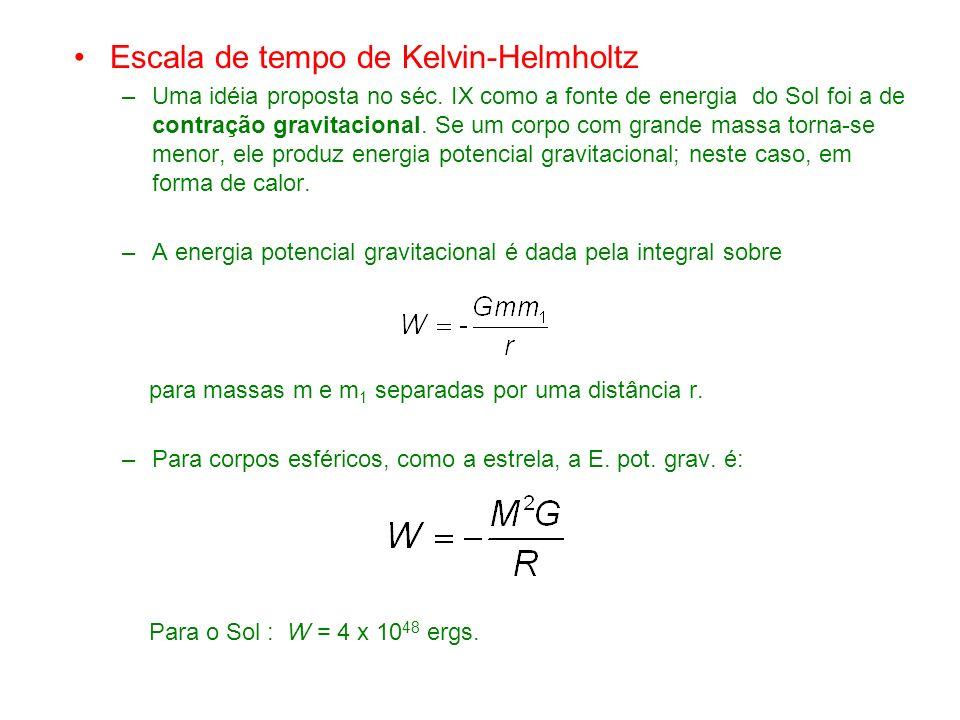 Escala de tempo de Kelvin-Helmholtz –Uma idéia proposta no séc.