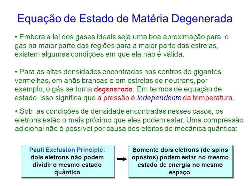 Equação de Estado de Matéria Degenerada Para as altas densidades encontradas nos centros de gigantes vermelhas, em anãs brancas e em estrelas de neutrons, por exemplo, o gás se torna degenerado.