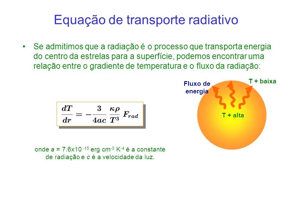 Se admitimos que a radiação é o processo que transporta energia do centro da estrelas para a superfície, podemos encontrar uma relação entre o gradiente de temperatura e o fluxo da radiação: Equação de transporte radiativo onde a = 7.6x10 -15 erg cm -3 K -4 é a constante de radiação e c é a velocidade da luz.