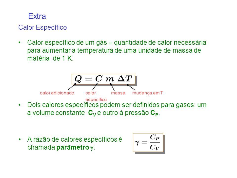 Calor específico de um gás quantidade de calor necessária para aumentar a temperatura de uma unidade de massa de matéria de 1 K.