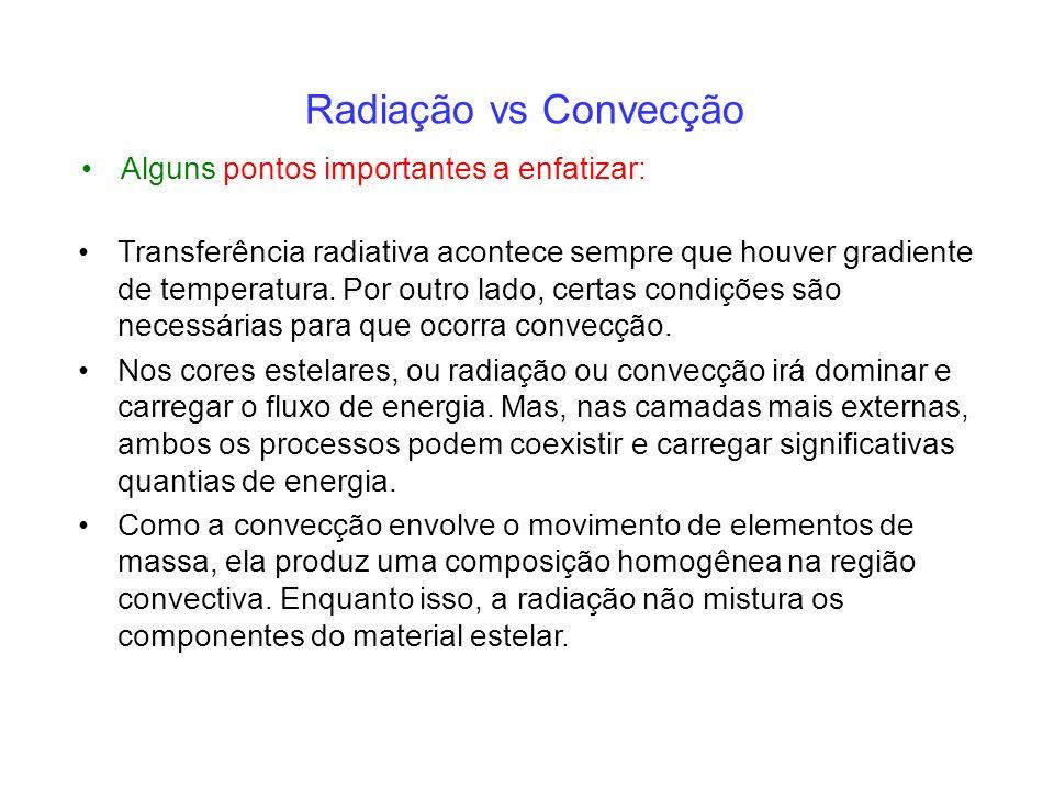 Alguns pontos importantes a enfatizar: Radiação vs Convecção Transferência radiativa acontece sempre que houver gradiente de temperatura.