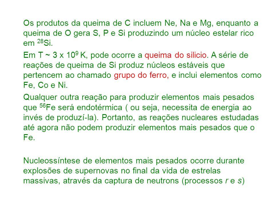 Os produtos da queima de C incluem Ne, Na e Mg, enquanto a queima de O gera S, P e Si produzindo um núcleo estelar rico em 28 Si.