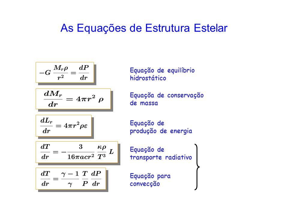As Equações de Estrutura Estelar Equação de equilíbrio hidrostático Equaçõa de conservação de massa Equação de produção de energia Equação de transporte radiativo Equação para convecção