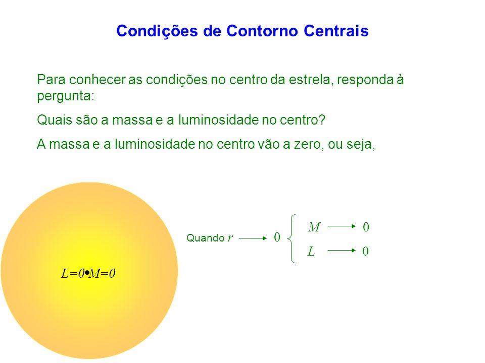 Condições de Contorno Centrais Quando r 0 Para conhecer as condições no centro da estrela, responda à pergunta: Quais são a massa e a luminosidade no centro.