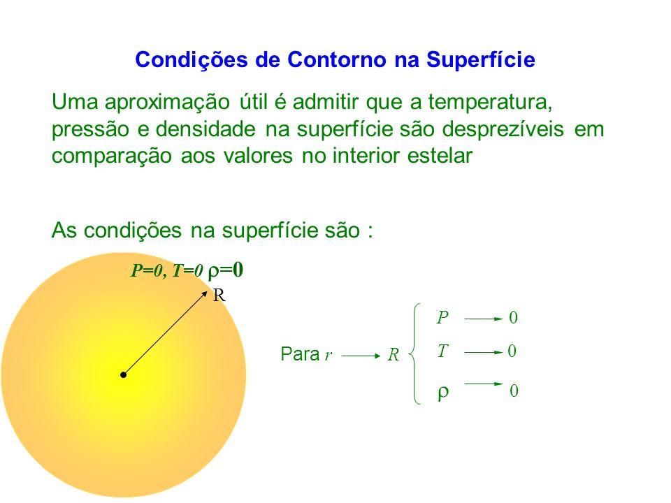 Condições de Contorno na Superfície Uma aproximação útil é admitir que a temperatura, pressão e densidade na superfície são desprezíveis em comparação aos valores no interior estelar Para r R P 0 T 0 0 As condições na superfície são : R P=0, T=0 =0