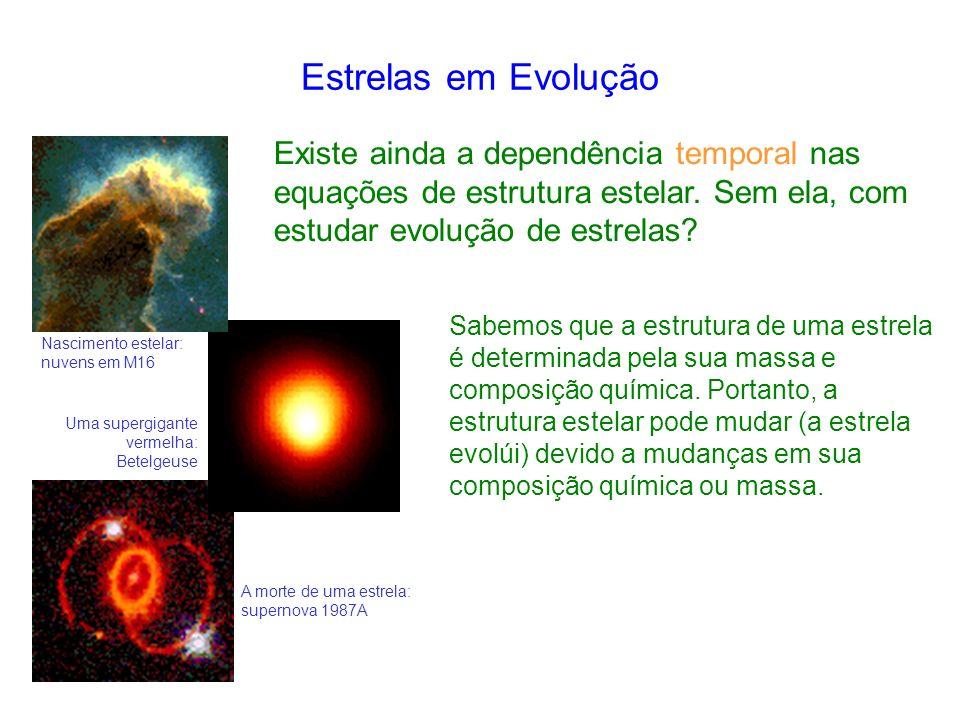 Estrelas em Evolução Existe ainda a dependência temporal nas equações de estrutura estelar.
