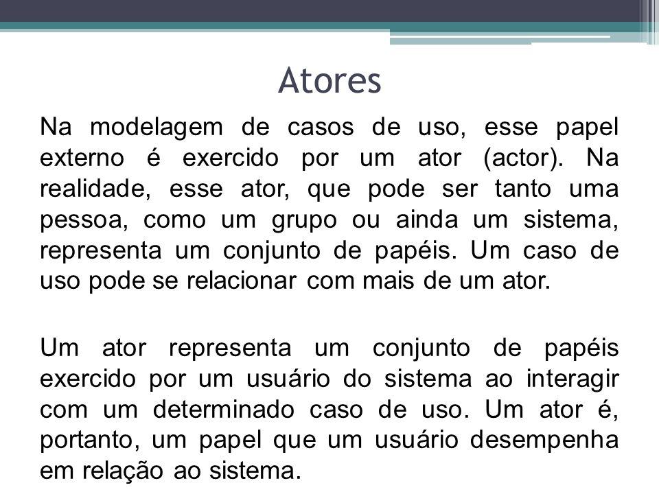 Atores Os atores não precisam ser humanos, embora sejam representados como bonecos humanos nos diagramas de caso de uso.