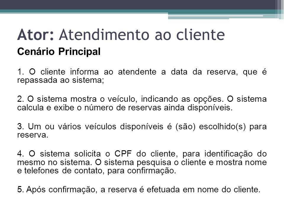 Cenários alternativos Alternativa: Data não disponível para reserva 1ª) O sistema verifica se para a data informada é possível efetuar reservas.