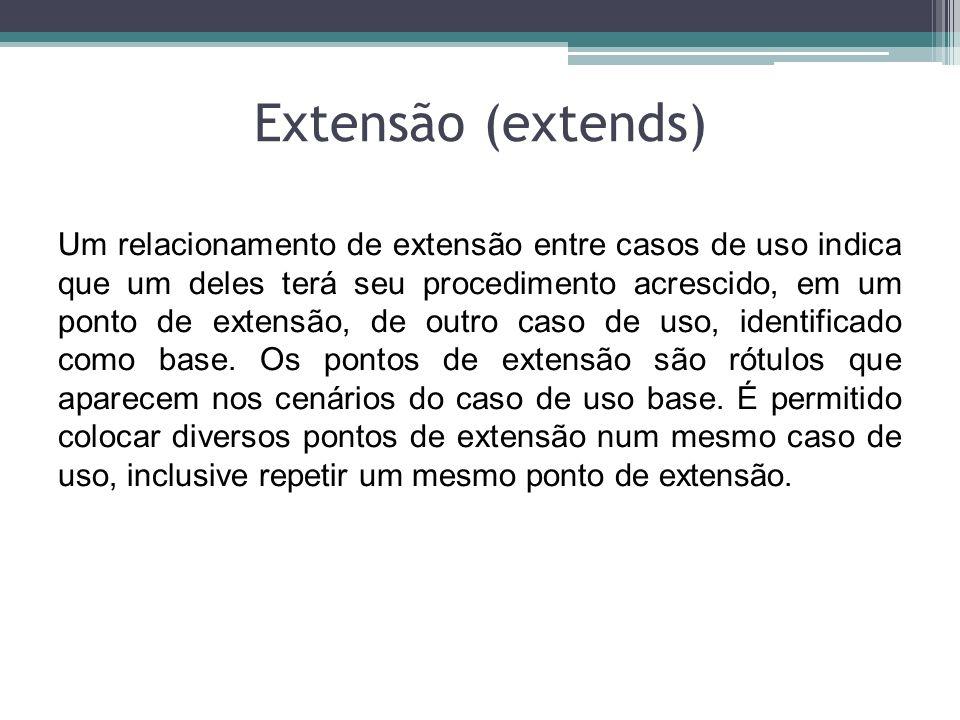 Extensão (extends) Um relacionamento de extensão entre casos de uso indica que um deles terá seu procedimento acrescido, em um ponto de extensão, de o