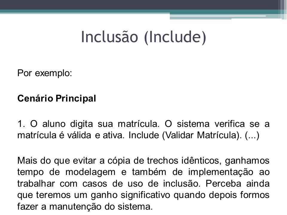 Inclusão (Include) Por exemplo: Cenário Principal 1. O aluno digita sua matrícula. O sistema verifica se a matrícula é válida e ativa. Include (Valida