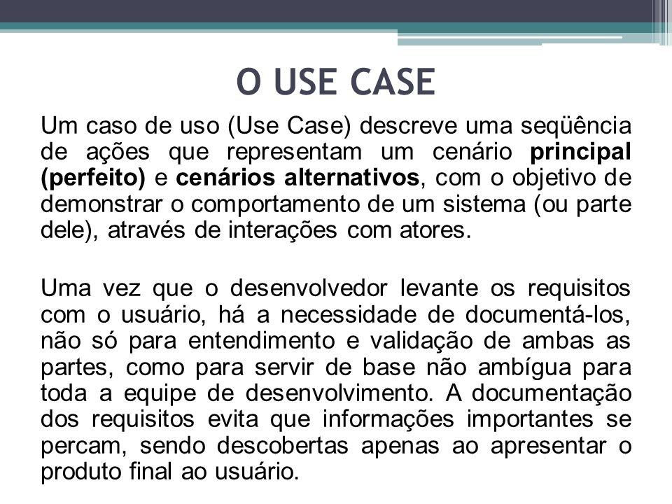O USE CASE Utilizando a modelagem de casos de uso, o primeiro passo do desenvolvedor é separar as funcionalidades do sistema.