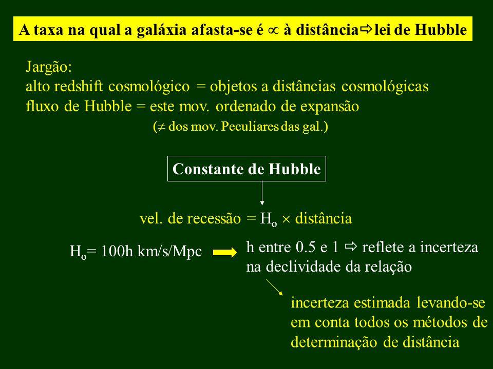 A taxa na qual a galáxia afasta-se é à distância lei de Hubble Jargão: alto redshift cosmológico = objetos a distâncias cosmológicas fluxo de Hubble =