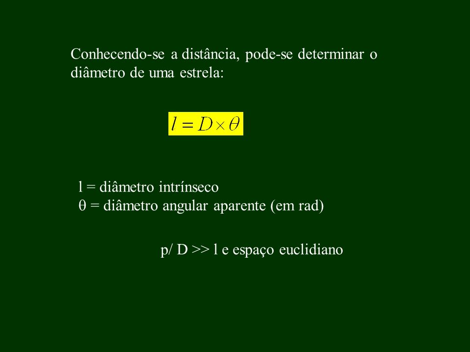 Conhecendo-se a distância, pode-se determinar o diâmetro de uma estrela: l = diâmetro intrínseco = diâmetro angular aparente (em rad) p/ D >> l e espa