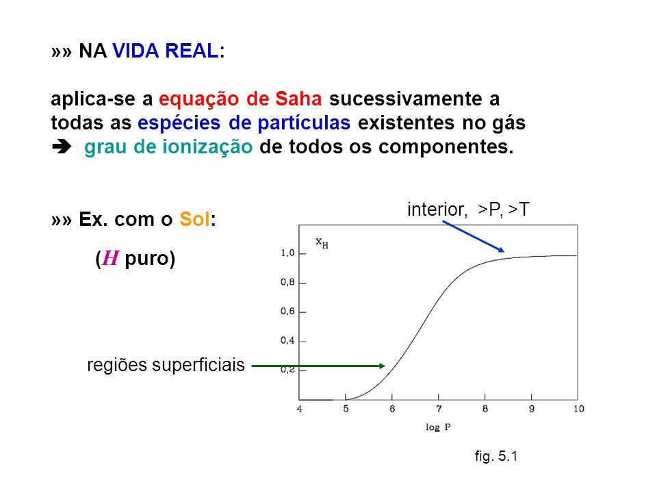 »» NA VIDA REAL: aplica-se a equação de Saha sucessivamente a todas as espécies de partículas existentes no gás grau de ionização de todos os componen
