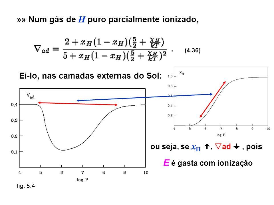 »» Num gás de H puro parcialmente ionizado, (4.36) Ei-lo, nas camadas externas do Sol: ou seja, se x H, ad, pois E é gasta com ionização fig. 5.4