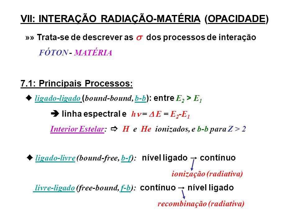 VII: INTERAÇÃO RADIAÇÃO-MATÉRIA (OPACIDADE) »» Trata-se de descrever as dos processos de interação F ÓTON - MATÉRIA 7.1: Principais Processos : l igado-ligado ( bound-bound, b-b ): entre E 2 > E 1 linha espectral e h = E = E 2 -E 1 Interior Estelar: H e He ionizados, e b-b para Z > 2 l igado-livre (bound-free, b-f): n ível ligado c ontínuo i onização (radiativa) livre-ligado (free-bound, f-b): contínuo n ível ligado r ecombinação (radiativa)