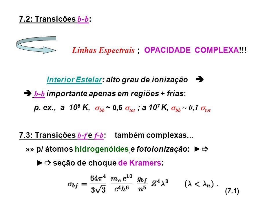 7.2: Transições b-b : Linhas Espectrais ; OPACIDADE COMPLEXA!!! Interior Estelar: alto grau de ionização b -b importante apenas em regiões + frias: p.
