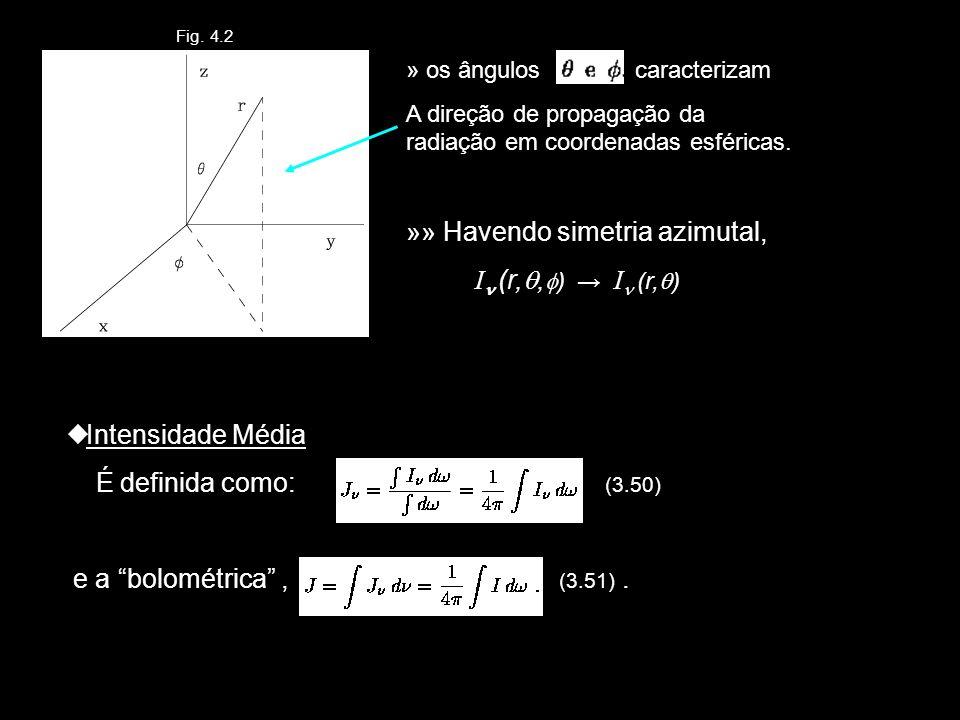 Fig. 4.2 » os ângulos caracterizam A direção de propagação da radiação em coordenadas esféricas. »» Havendo simetria azimutal, I (r,, ) I (r, ) Intens