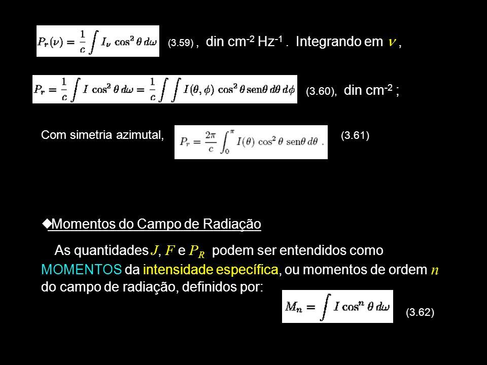 (3. (3.59), din cm -2 Hz -1. Integrando em, (3.60), din cm -2 ; Com simetria azimutal, (3.61) Momentos do Campo de Radiação As quantidades J, F e P R