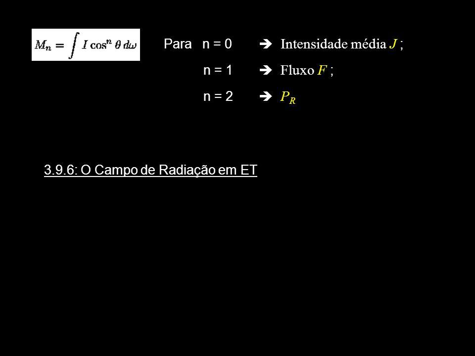 Para n = 0 Intensidade média J ; n = 1 Fluxo F ; n = 2 P R 3.9.6: O Campo de Radiação em ET