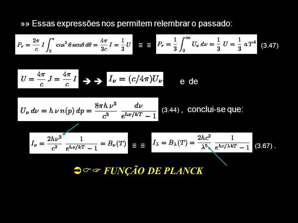 »» Essas expressões nos permitem relembrar o passado: (3.47) e de (3.44), conclui-se que: (3.67). FUNÇÃO DE PLANCK