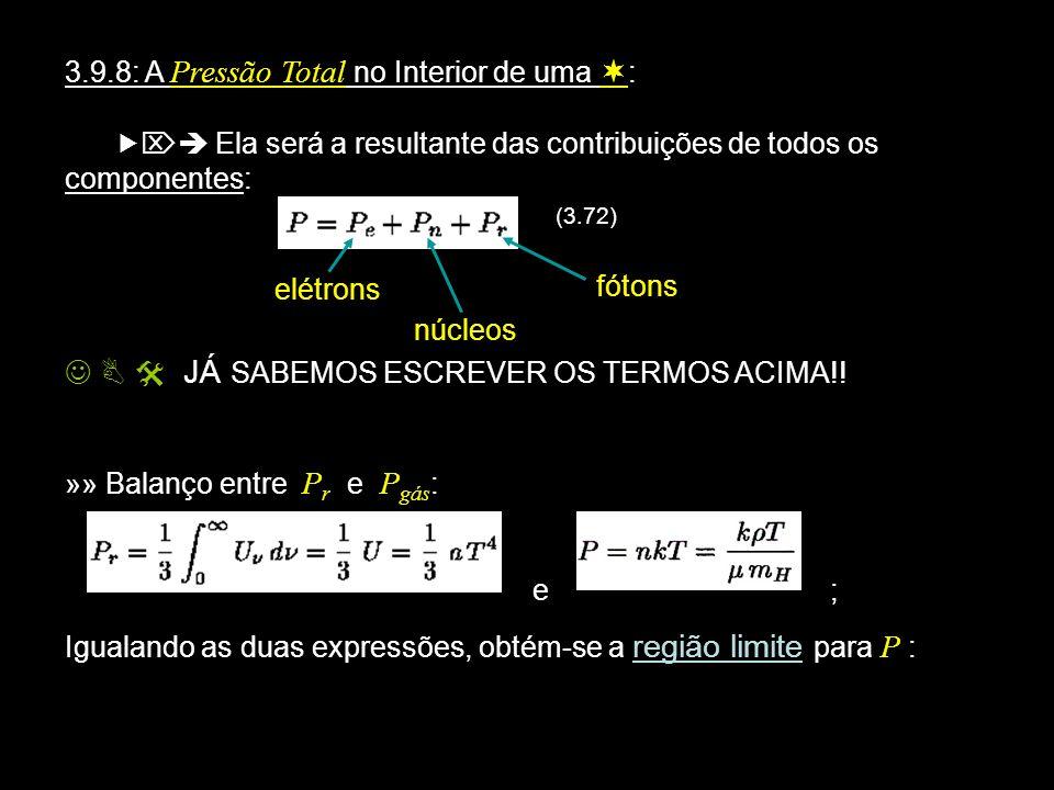 3.9.8: A Pressão Total no Interior de uma : Ela será a resultante das contribuições de todos os componentes: (3.72) elétrons núcleos JÁ SABEMOS ESCREV