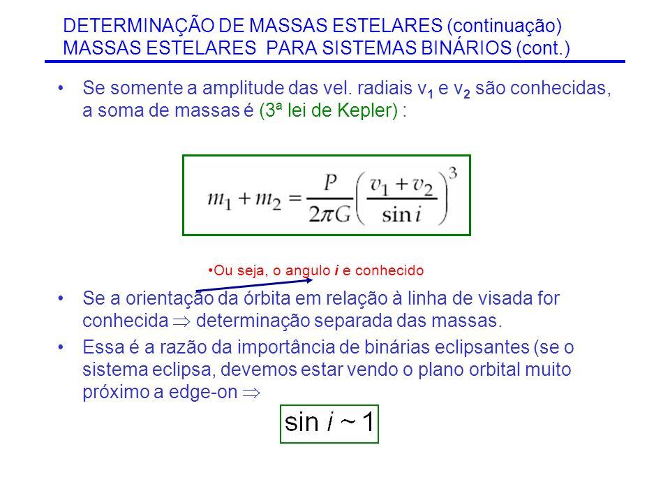 DETERMINAÇÃO DE MASSAS ESTELARES (continuação) MASSAS ESTELARES PARA SISTEMAS BINÁRIOS (cont.) Se somente a amplitude das vel. radiais v 1 e v 2 são c