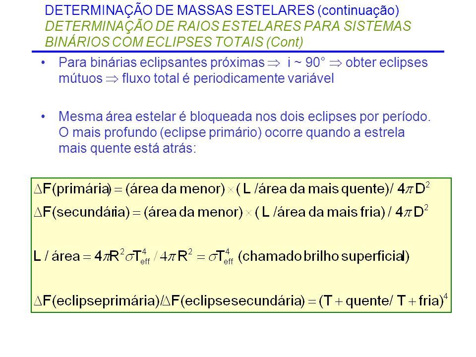 DETERMINAÇÃO DE MASSAS ESTELARES (continuação) DETERMINAÇÃO DE RAIOS ESTELARES PARA SISTEMAS BINÁRIOS COM ECLIPSES TOTAIS (Cont) Para binárias eclipsa