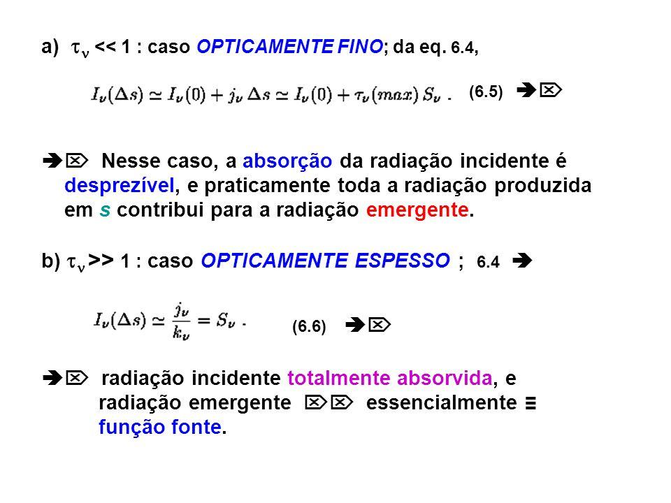 a) << 1 : caso OPTICAMENTE FINO; da eq. 6.4, (6.5) Nesse caso, a absorção da radiação incidente é desprezível, e praticamente toda a radiação produzid